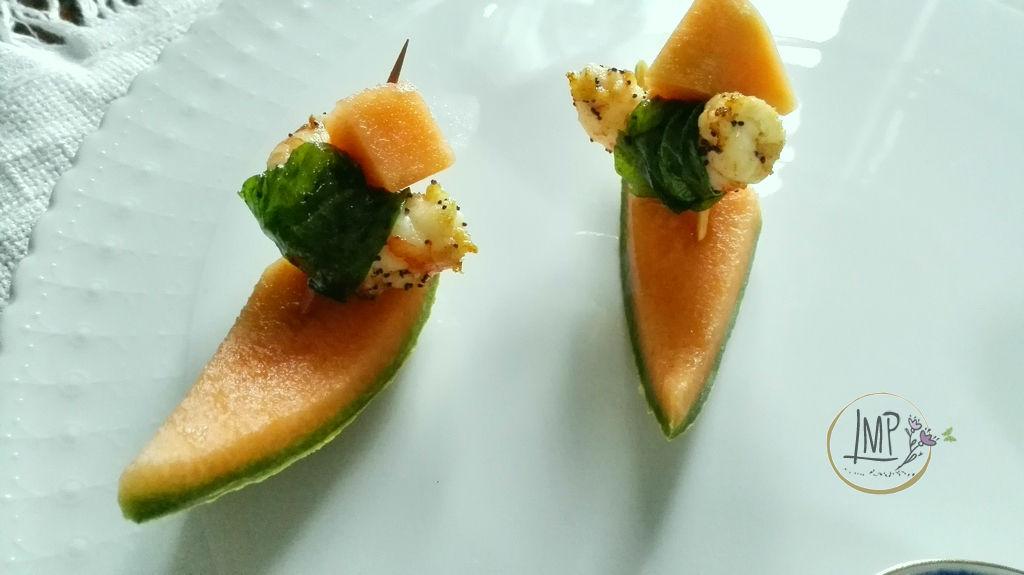 Gamberi in foglia con melone