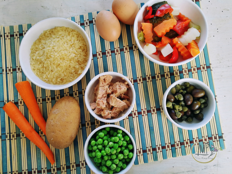 Ingredienti per insalata russa di riso