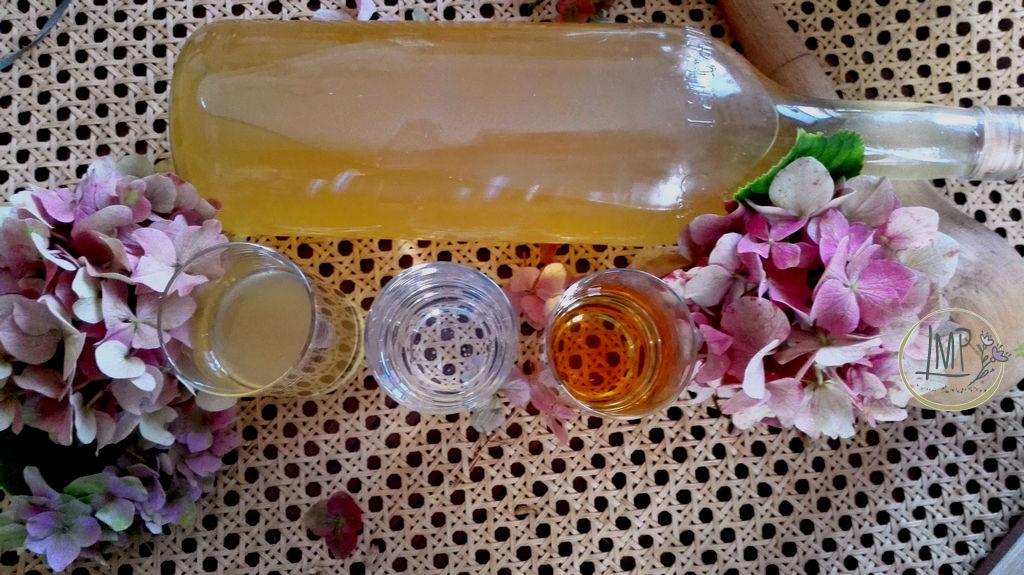 Cocktail Elder Passion Ingredienti con bottiglia sciroppo e bicchierini