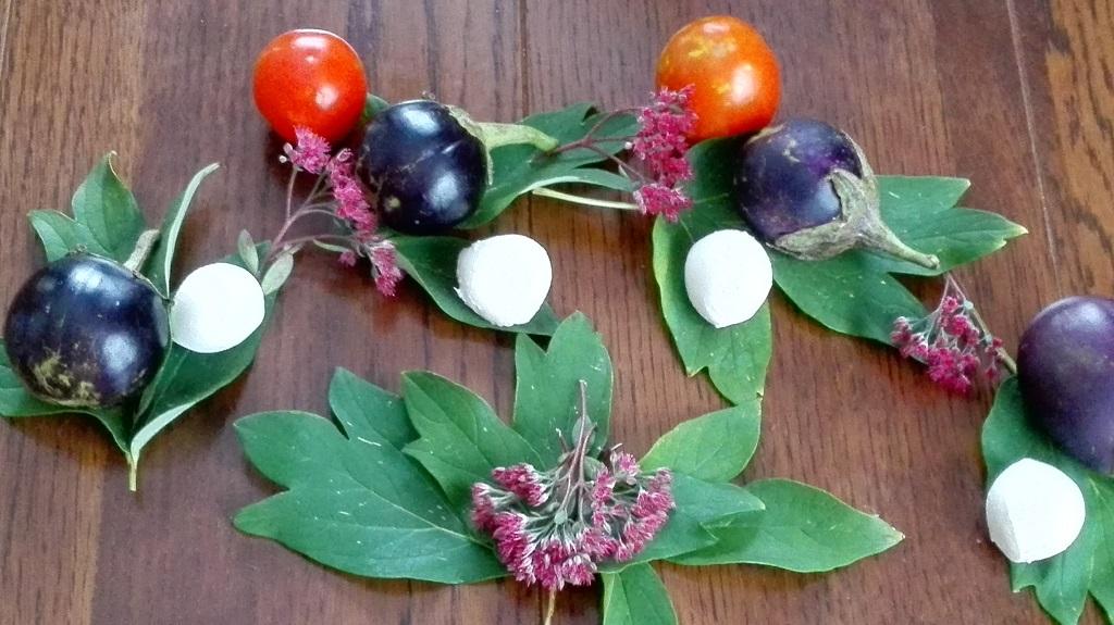 Ingredienti, pomodori, melanzane, bocconcini di mozzarella su foglie