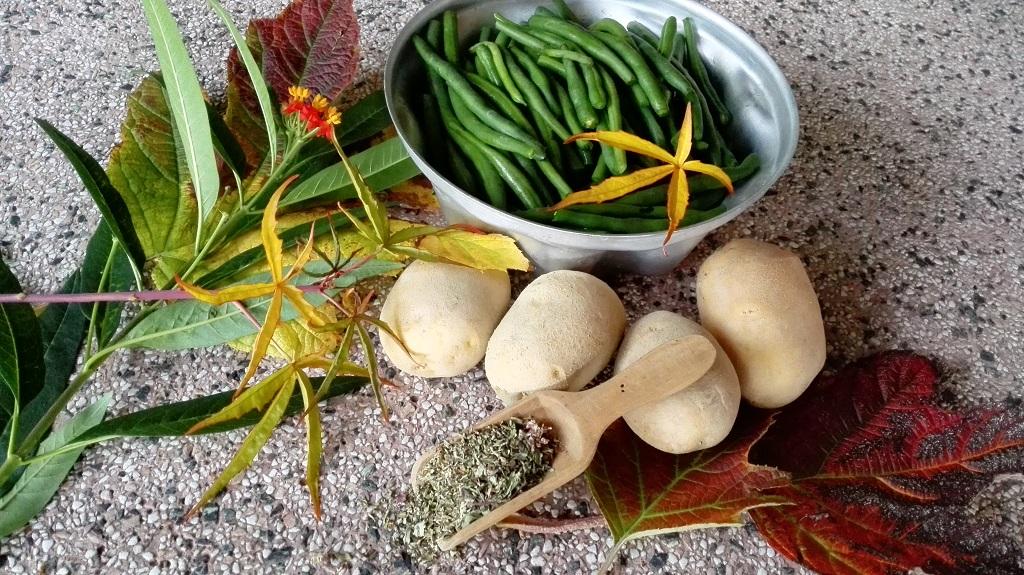 Ingredienti: fagiolini, patate, origano con foglie autunnali