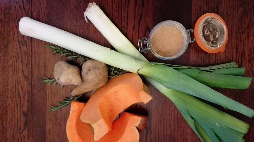 Ingredienti: porro, patate dolci, porro, zenzero e rosmarino