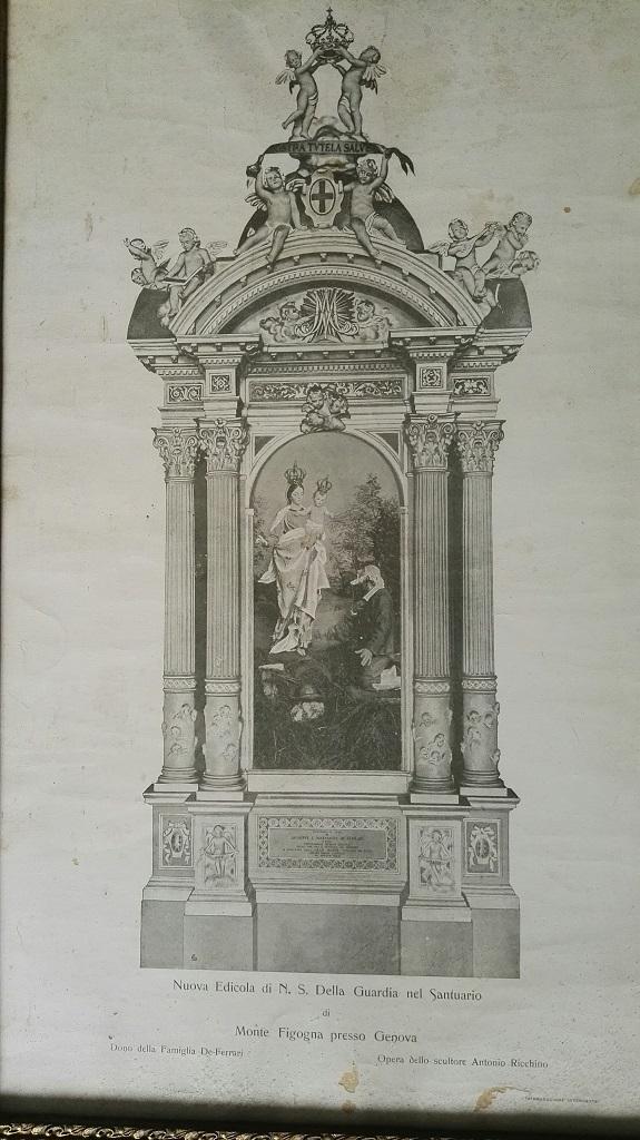Edicola della Madonna della Guardia in marmo bianco sovrastante l' altare