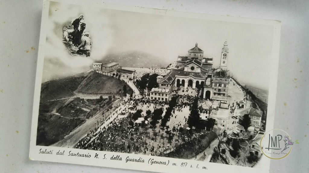 Melanzane ripiene santuario della Madonna della Guardia in una vecchia cartolina