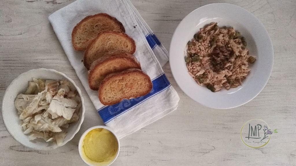 Bruschetta di insalata di stoccafisso preparazione ingredienti