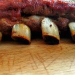 BBQ Ribs al forno dal Texas all' Italia Dettaglio costine in primo piano