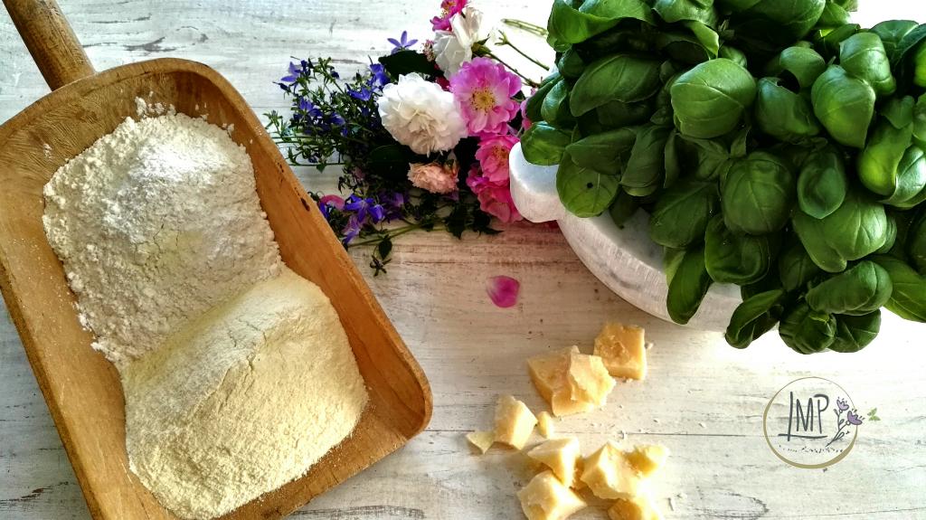 Focaccia al pesto Ingredienti con fiori