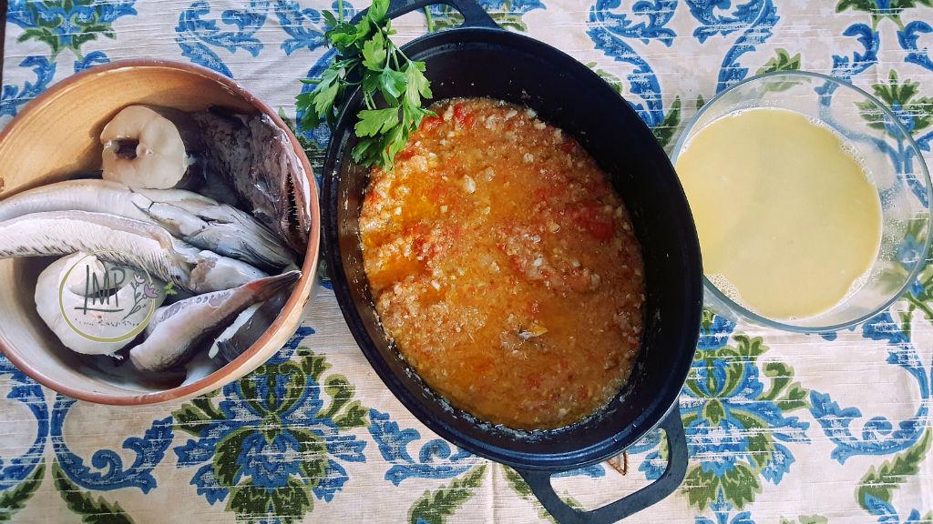 Bouillabaisse pesci, fondo per la zuppa e fumetto