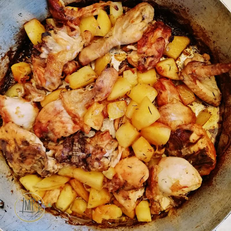 Pollo al forno a legna dettaglio