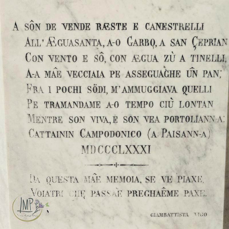 Caterina Campodonico epitaffio