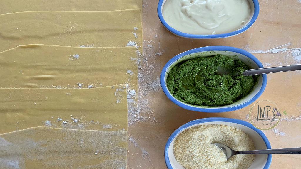 Lasagne al pesto al forno ingredienti pronti