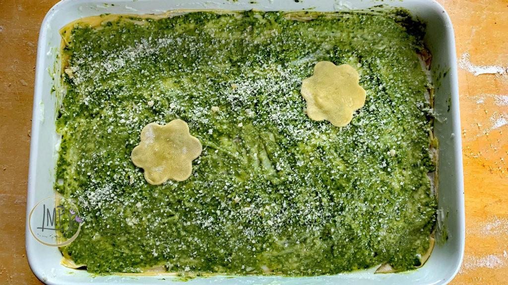 Lasagne al pesto al forno ultimo strato