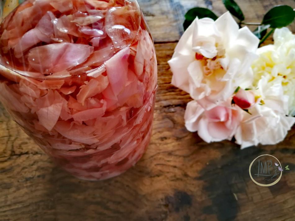 Acqua di rose infusione in bottiglia