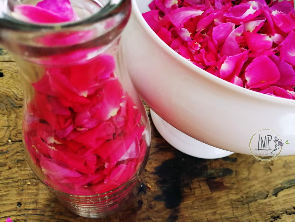Acqua di rose petali preparati