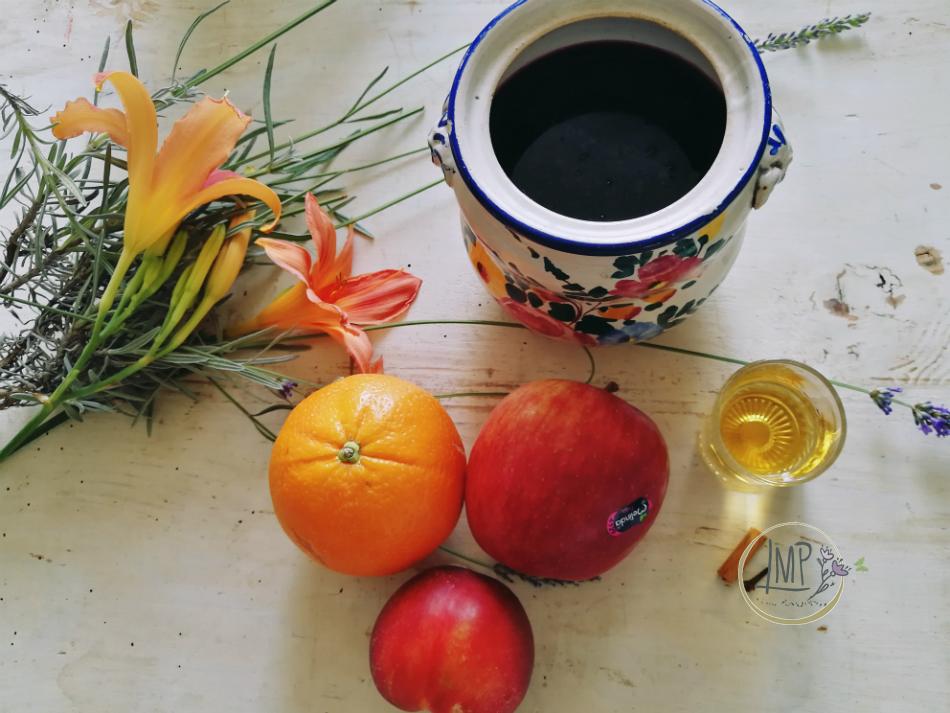 Ingredienti frutta vino e cognac