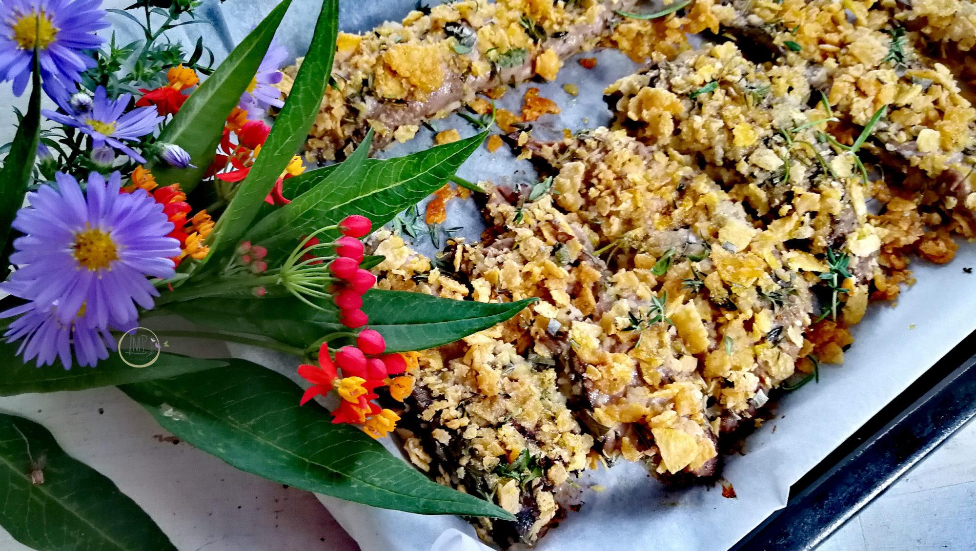 Tombarello in crosta di erbe aromatiche cotto